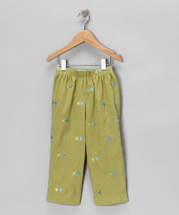 Leaf Green Argyle Corduroy Pants - Infant, Toddler & Boys