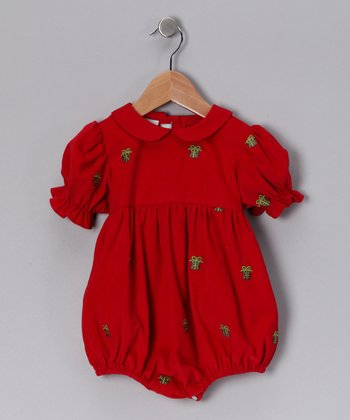 Red Gift Corduroy Bubble Bodysuit - Infant