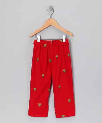 Red Gift Corduroy Pants - Infant & Boys