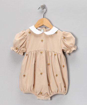 Tan Turkey Corduroy Bubble Bodysuit - Infant