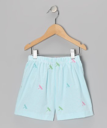 K&L Light Blue Dragonfly Seersucker Shorts - Infant & Girls