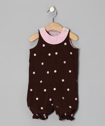 Brown Polka Dot Overalls - Infant & Toddler