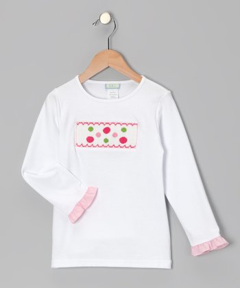 White Polka Dot Ruffle Smocked Tee - Girls