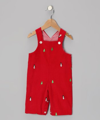Red Snowman Overalls - Toddler