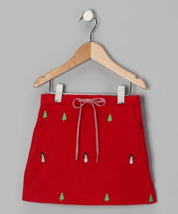 Red Snowman Skirt - Toddler & Girls