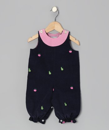 Navy Apple & Pear Overalls - Infant & Toddler