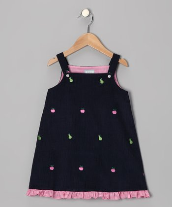 Navy Apple & Pear Ruffle Jumper - Infant & Girls