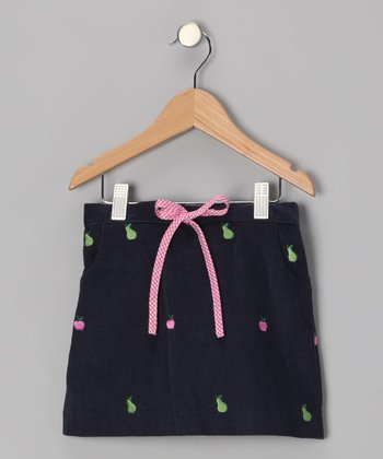 Navy Apple & Pear Skirt - Toddler & Girls