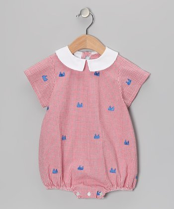 K&L Red Gingham Whale Bubble Romper - Infant