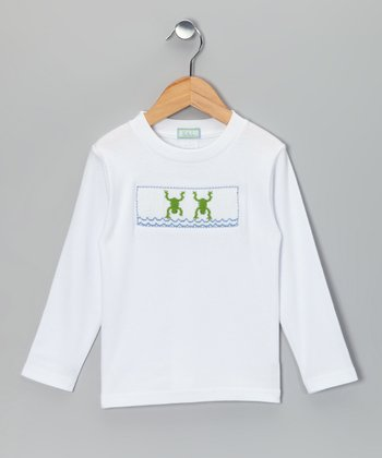 White Frog Smocked Tee - Infant