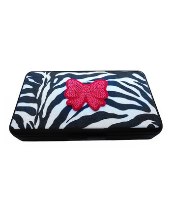 Zebra Bow Bling Wipes Clutch