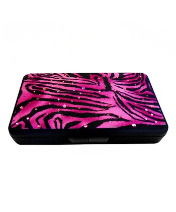 Pink & Black Zebra Sparkle Wipe Clutch