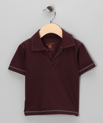 Burgundy Raw-Edge Polo - Toddler & Boys
