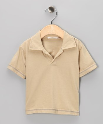 Sand Raw-Edge Polo - Infant, Toddler & Boys
