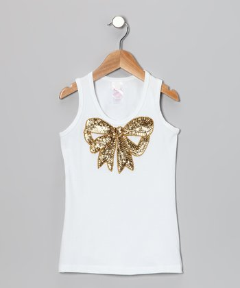 White & Gold Sequin Bow Tank - Toddler & Girls