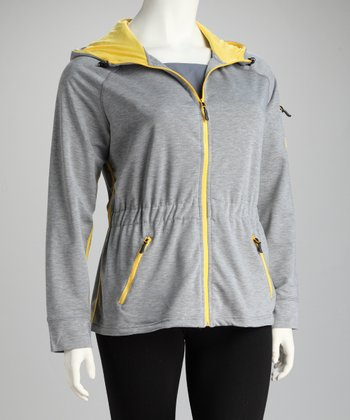 Heather Gray Hooded Track Jacket - Plus