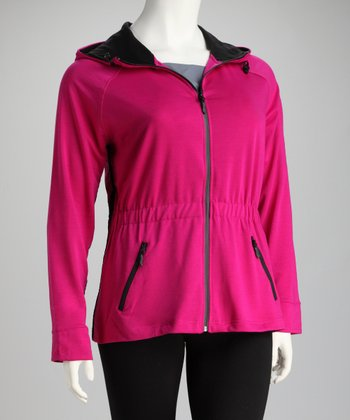 Magenta Hooded Track Jacket - Plus