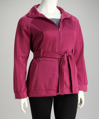 Plum Belted Jacket - Plus