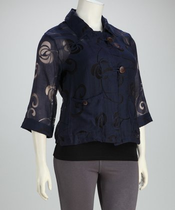 Navy Sheer Plus-Size Button-Up