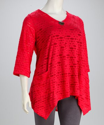 Kaktus Deep Coral Sheer Sidetail Top - Plus
