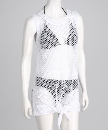 White Tie-Front Mesh Sleeveless Cover-Up