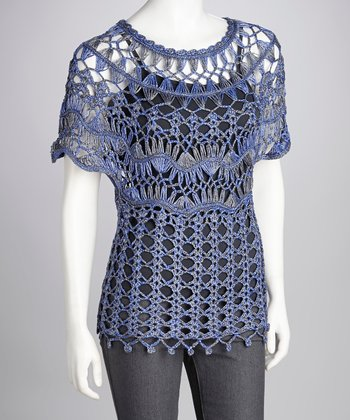 Blue Crocheted Cape-Sleeve Top