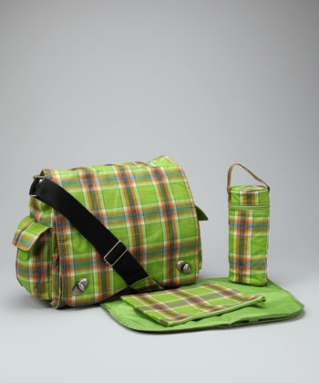 Green Plaid Sam's Diaper Messenger Bag