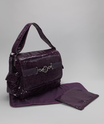 Crackle Plum Pippen's Messenger Diaper Bag