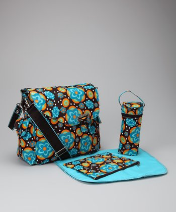 Flower Power Blue Ozz Diaper Messenger Bag