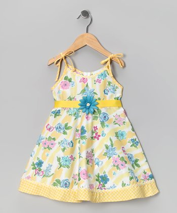 Kami's Kids Yellow & Blue Floral Jessica Dress - Toddler & Girls