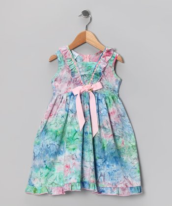 Kami's Kids Blue & Pink Lara Dress - Toddler