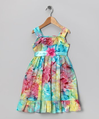 Kami's Kids Aqua & Red Maya Dress - Toddler