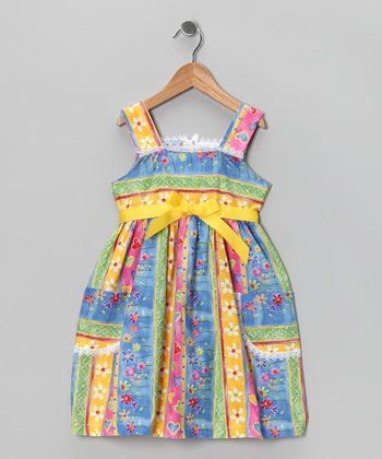 Kami's Kids Blue & Yellow Daisy Dress - Toddler & Girls