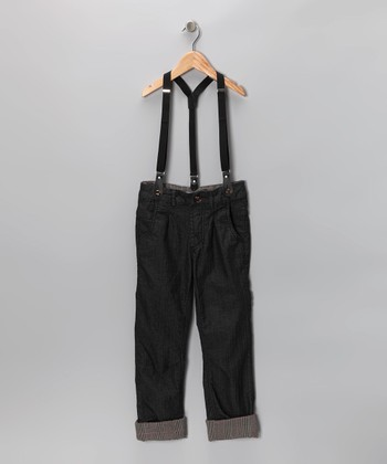 Dark Gray Straight-Leg Pants & Suspenders - Toddler & Boys