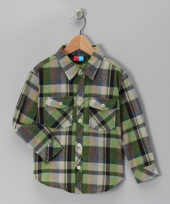 Green Plaid Sperry Button-Up - Infant, Toddler & Boys