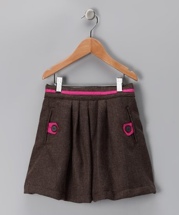 Brown Winfrey Wool-Blend Skirt - Infant, Toddler & Girls