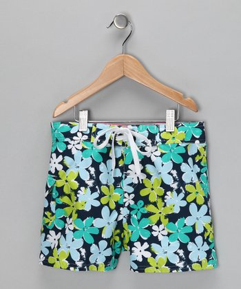 Blue Daisy Boardshorts - Girls