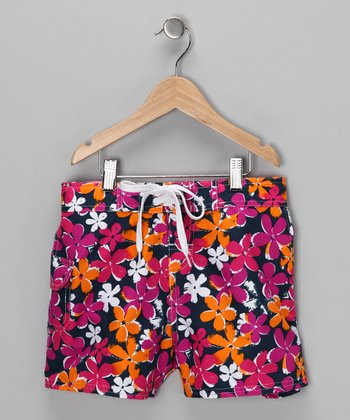 Pink Daisy Boardshorts - Girls