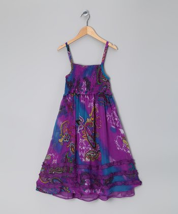Purple Paisley Smocked Ruffle Dress