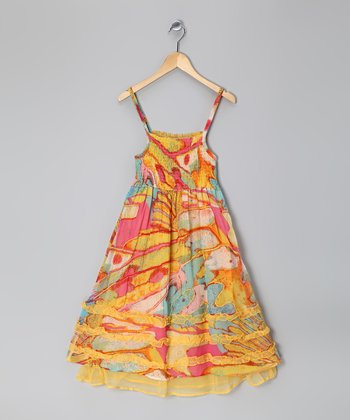 Orange & Yellow Watercolor Shirred Ruffle Dress - Girls