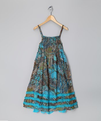 Blue Floral Sparkle Shirred Ruffle Dress - Girls