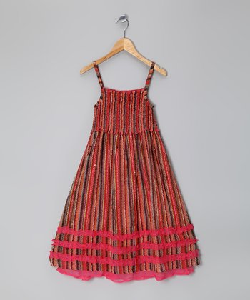 Red Stripe Shirred Ruffle Dress - Girls