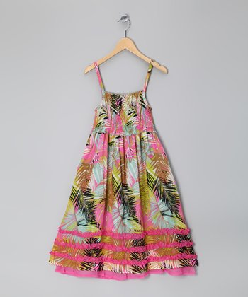 Palm Floral Shirred Ruffle Dress - Girls