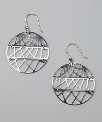 Sterling Silver Fancy Disc Drop Earrings