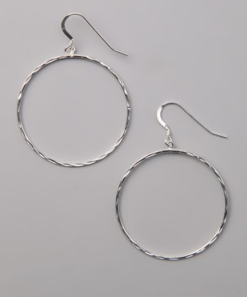 Sterling Silver Large Diamond-Cut Drop Earrings