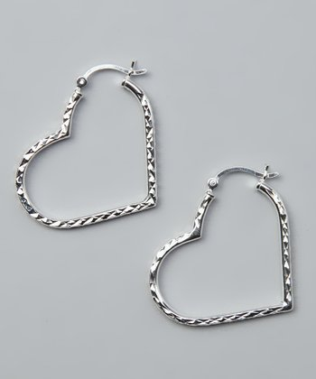 Sterling Silver Diamond-Cut Heart Hoop Earrings