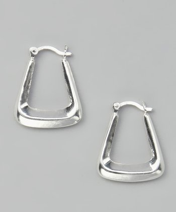 Sterling Silver Angular Hoop Earrings