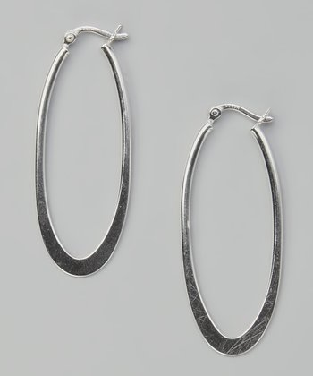 Sterling Silver Smooth Oval Hoop Earrings