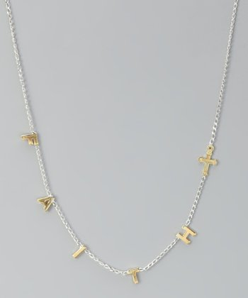 Gold & Sterling Silver 'Faith' Necklace