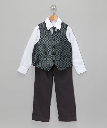 Gray & Turquoise Vest Set - Toddler & Boys